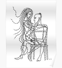 Barb Wire Love ink pen drawing Poster