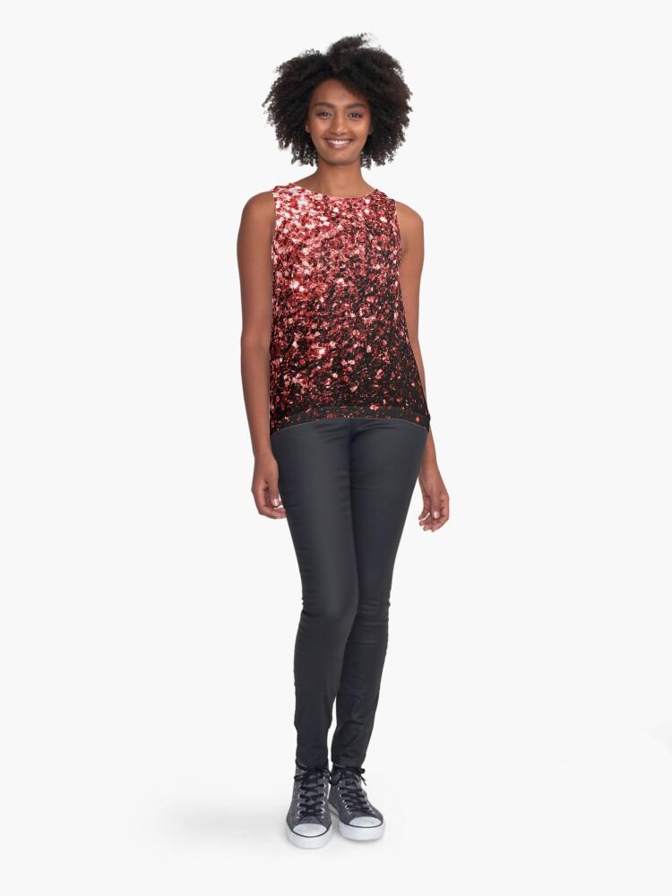 Vista alternativa de Blusa sin mangas Glamour hermoso brillo rojo brilla