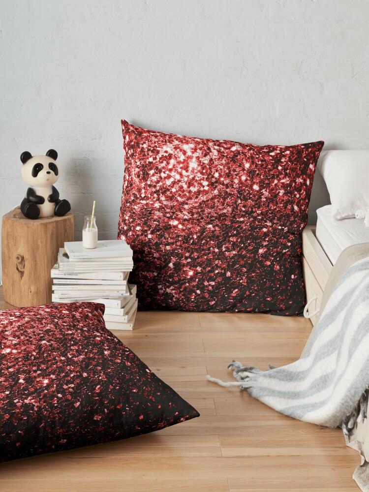 Vista alternativa de Cojines de suelo Glamour hermoso brillo rojo brilla