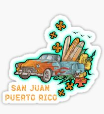San Juan Puerto Rico Classic Car Surf Sticker