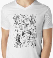 Raum Hunde T-Shirt mit V-Ausschnitt