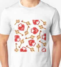 Watercolor Red Heart Locks Background T-Shirt