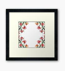 Watercolor Orange and Red Floral Design Framed Print