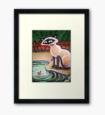 Three Cats Fishing - Right Panel Framed Print