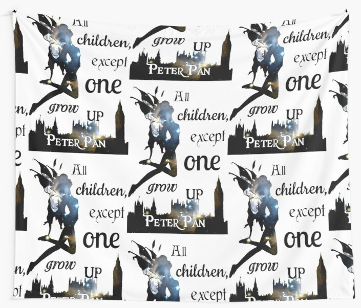 Peter Pan Print All Children Except One Grow Up Wall Tapestries