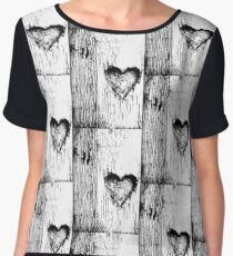 Black and White lovely heart , Women's Chiffon Top