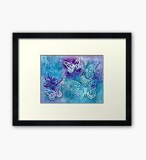 Butterflies in blue and purple - mixed media Framed Print