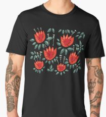 Beautiful Red Abstract Tulip Pattern Men's Premium T-Shirt