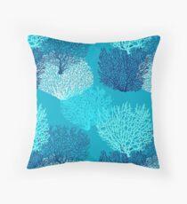 Cojín Fan Coral Print, Turquesa, Aqua y Cobalto Azul
