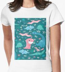 Dino Cutie Pattern in Green Women's Fitted T-Shirt