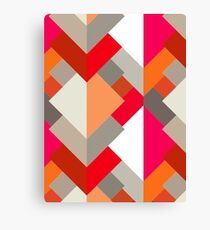 Modern Abstract Triangles, Orange, Fuchsia, and Gray Canvas Print