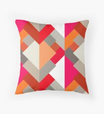 Modern Abstract Triangles, Orange, Fuchsia, and Gray Throw Pillow