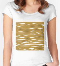 Striped Rope Ornamental  Background. Stong Brown Rope Pattern Women's Fitted Scoop T-Shirt