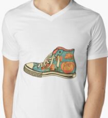 colored pattern gym shoes Men's V-Neck T-Shirt