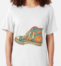colored pattern gym shoes Slim Fit T-Shirt