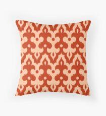 Moroccan Ikat Damask, Mandarin Orange Throw Pillow