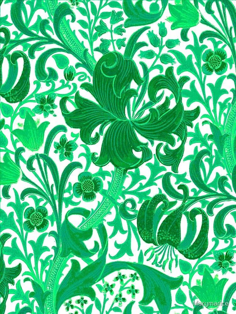 William Morris Iris and Lily, Jade Green by Marymarice