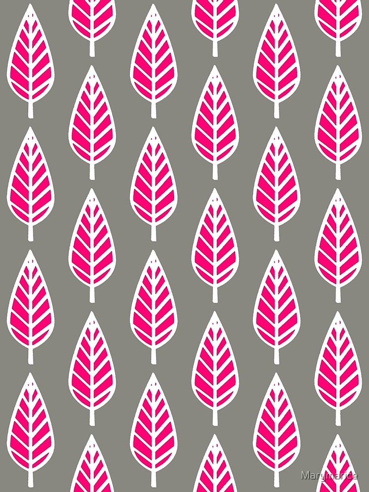 Beech Leaf Pattern, Fuchsia Pink and Silver by Marymarice