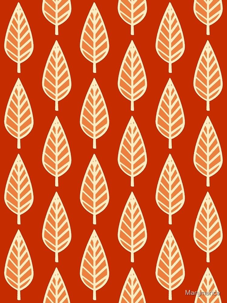 Beech Leaf Pattern, Shades of Mandarin Orange by Marymarice