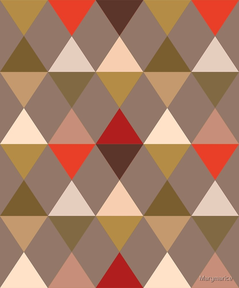 Harlequin Pattern, Taupe and Red by Marymarice