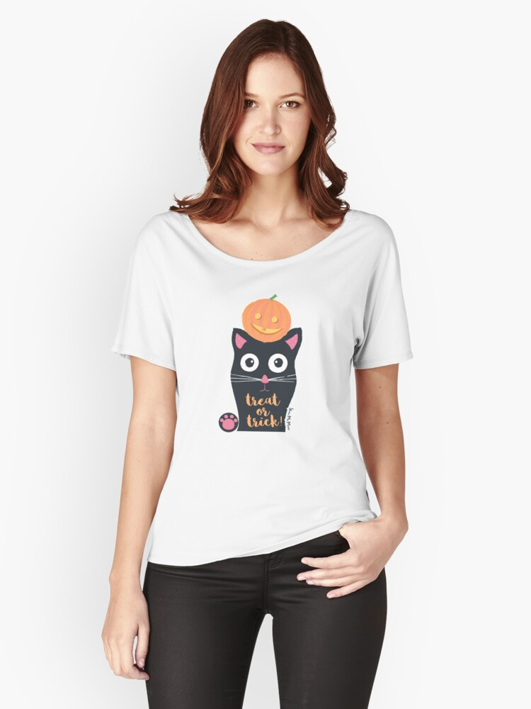 Black Cat  Women's Relaxed Fit T-Shirt Front