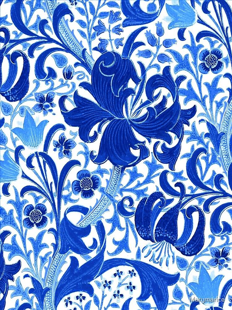 William Morris Iris and Lily, Cobalt Blue by Marymarice