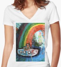 ahoy there  Women's Fitted V-Neck T-Shirt