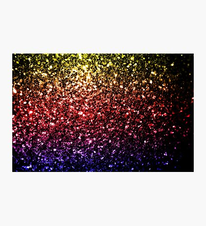 Beautiful rainbow yellow red purple sparkles Photographic Print