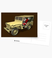 Santa Claus In Willys Jeep Postcards