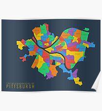Map of Pittsburgh Neighborhoods Poster