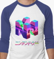Camiseta ¾ bicolor para hombre Nintendo 64 Vaporwave