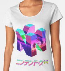 Camiseta premium de cuello ancho Nintendo 64 Vaporwave