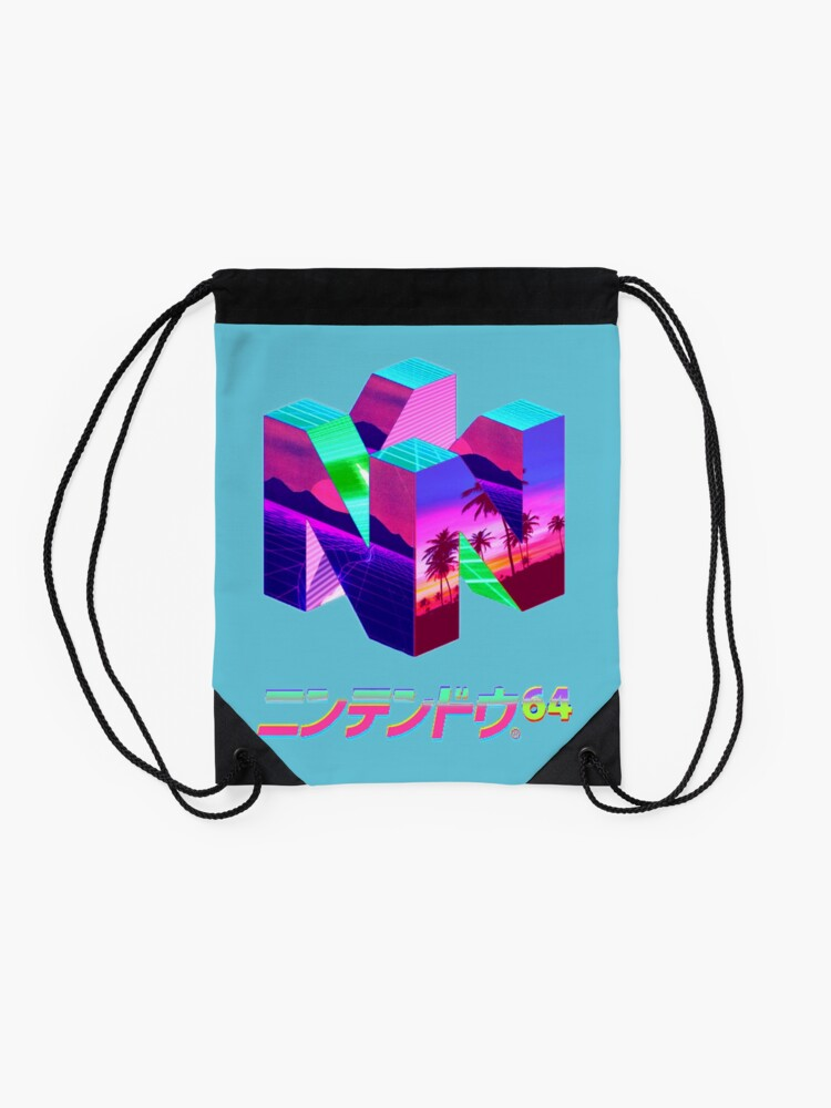 Alternate view of Nintendo 64 Vaporwave Drawstring Bag