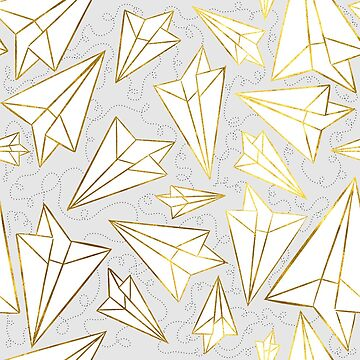 Paper Airplanes Gold Grey by beththompsonart