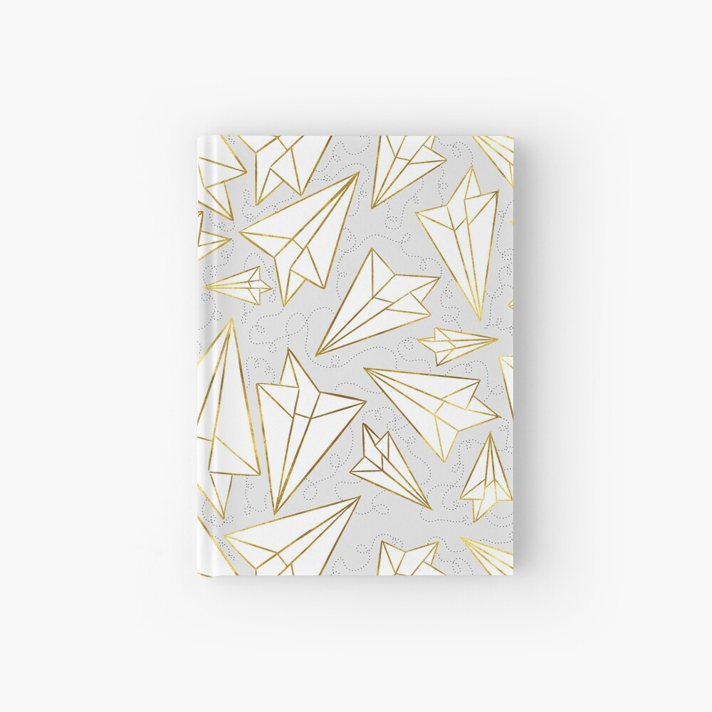 Paper Airplanes Gold Grey Hardcover Journal