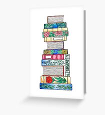 Autumnal Floral Book Stack Greeting Card