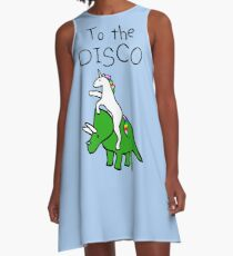 Zur Disco (Unicorn Riding Triceratops) A-Linien Kleid