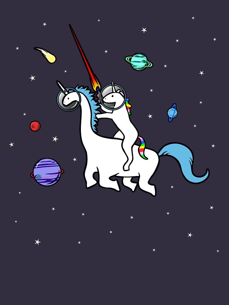 Unicornio montando Dinocorn en el espacio de jezkemp