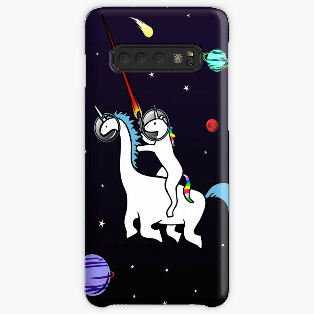 Unicornio montando Dinocorn en el espacio Funda y vinilo para Samsung Galaxy