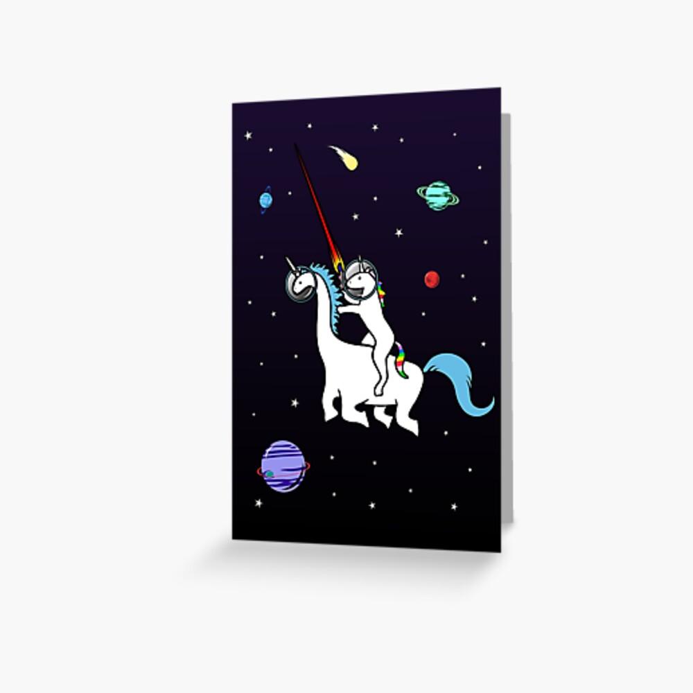 Unicornio montando Dinocorn en el espacio Tarjetas de felicitación