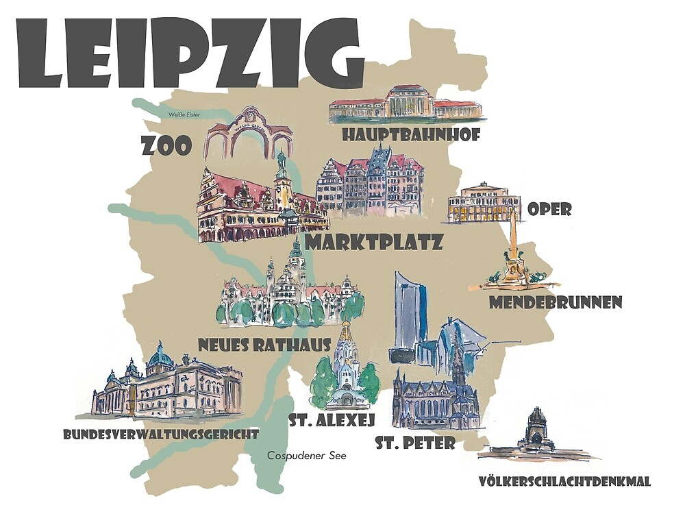 Leipzig Germany Retro Map With Attractions By Artshop77 Redbubble