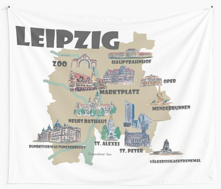 Leipzig Germany Retro Map With Attractions Tapestry By Artshop77 Redbubble