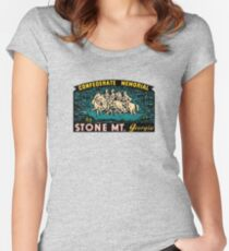 Confederate Memorial Stone Mountain Georgia Vintage Travel Decal Women's Fitted Scoop T-Shirt