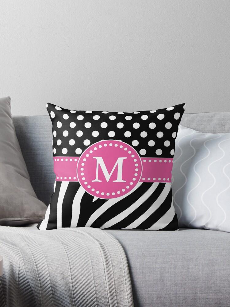 Schwarzweiss-Zebra-Streifen und Tupfen M-Monogramm von DebiDalio