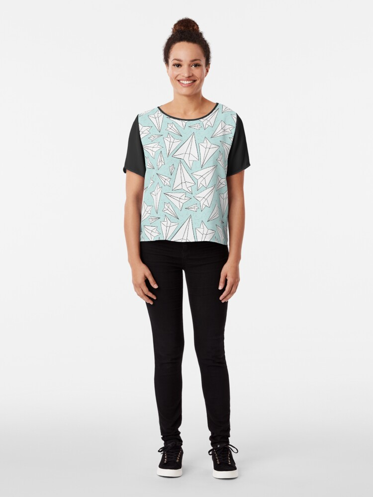Alternate view of Paper Airplanes Mint Chiffon Top