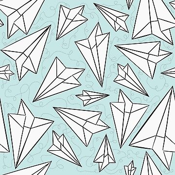 Paper Airplanes Mint by beththompsonart