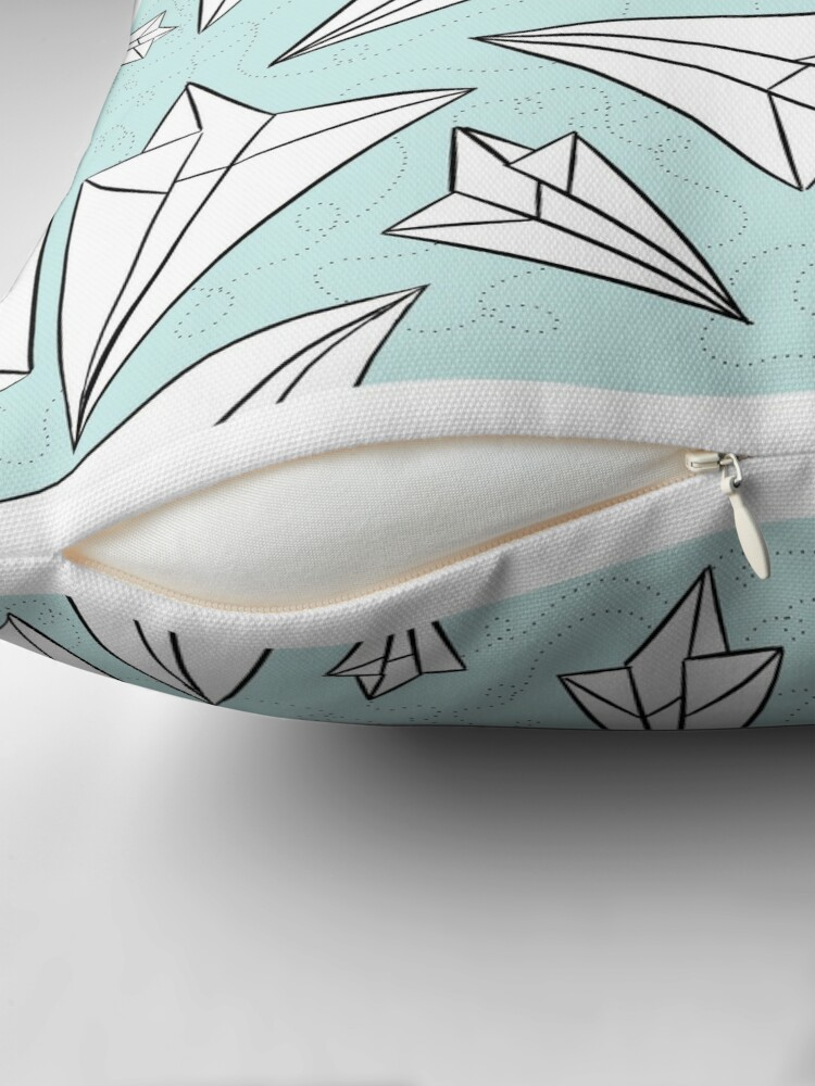 Alternate view of Paper Airplanes Mint Throw Pillow