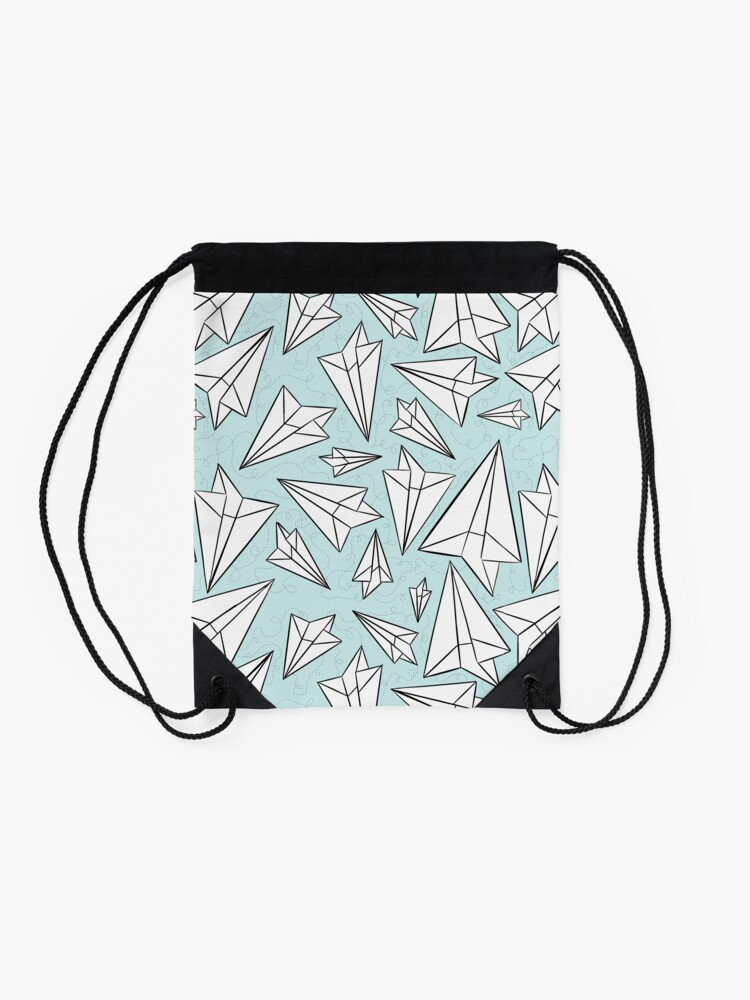 Alternate view of Paper Airplanes Mint Drawstring Bag