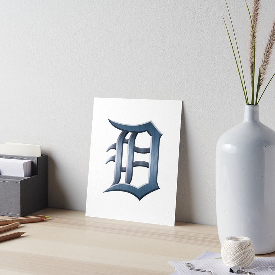 Detroit Old English D - Brushed Metal by Elena Maria