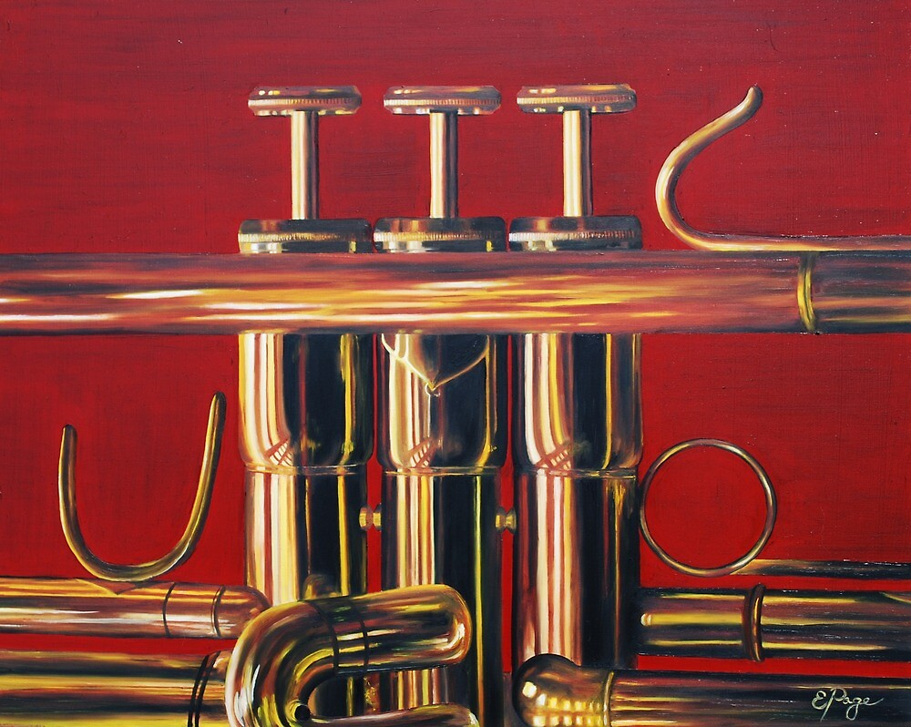 Trumpet in Red by emilypageart
